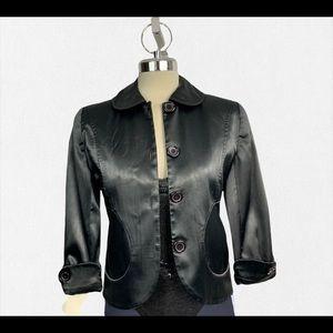 Black matte Satin jacket 3/4 length sleeves size 2